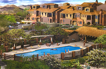 There are nine unique townhome floor plans in Villages at Aviano Desert Ridge.
