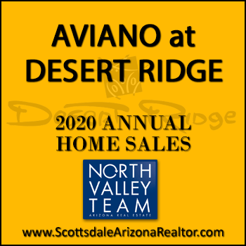 There were 135  sold Aviano Desert Ridge homes during 2020, 40 more sold properties this year than the Aviano Desert Ridge homes sold during 2019. Of the total homes sold in Aviano during 2020, 50 were Desert Ridge condos in Villages at Aviano and the remaining 85 properties were detached Aviano Desert Ridge homes in other Aviano villages.